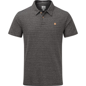 tentree Hemp Polo Homme, coal black/elm white stripe